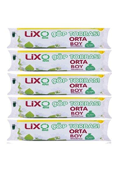 LİXO ÇÖP POŞETLERİ Lixo Orta Boy Çöp Poşet 5*20= 100 Adet 55x60 Cm