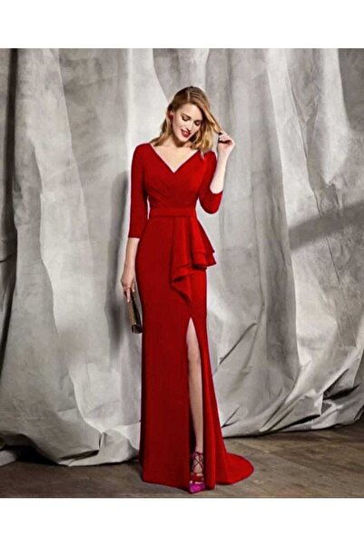 tknfashion Esnek Krep Kumaş V Yaka Belinde Volan Detay Kırmızı Uzun Abiye Elbise Yırtmaçlı Elbise 58570 634