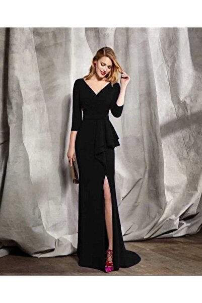tknfashion Esnek Krep Kumaş V Yaka Belinde Volan Detay Siyah Uzun Abiye Elbise Yırtmaçlı Elbise 58570 634