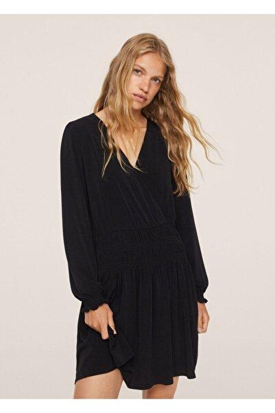 MANGO Woman Kadın Siyah Anvelop Yakalı Uzun Elbise