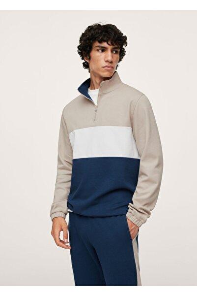 MANGO Man Erkek Mavi Blok Renk Pike Kumaş Yakası Fermuarlı Sweatshirt