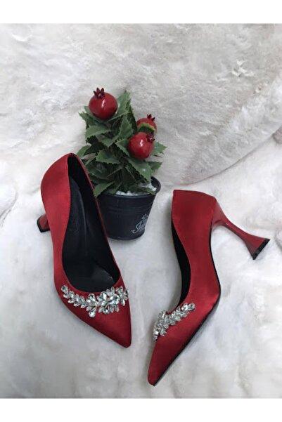 LADİESHOE Şampanya Topuk Taşlı Kırmızı Stiletto