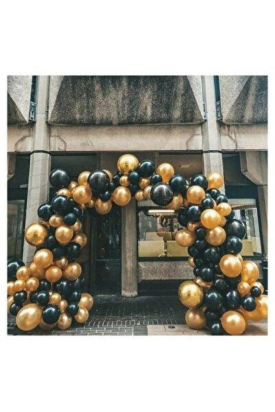 BalonEvi 50 Adet 12 Inç Parti Balonu Metalik Gold - Pastel Siyah + 5 Mt Balon Zinciri
