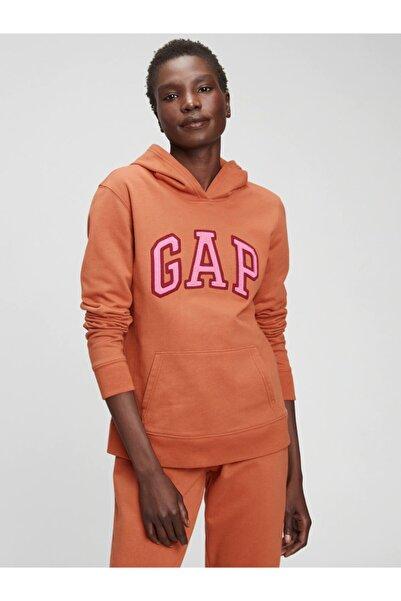 GAP Kadın Turuncu Logo Kapüşonlu Sweatshirt
