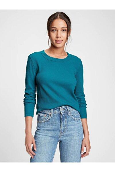 GAP Kadın Yeşil Waffle Örgü T-shirt