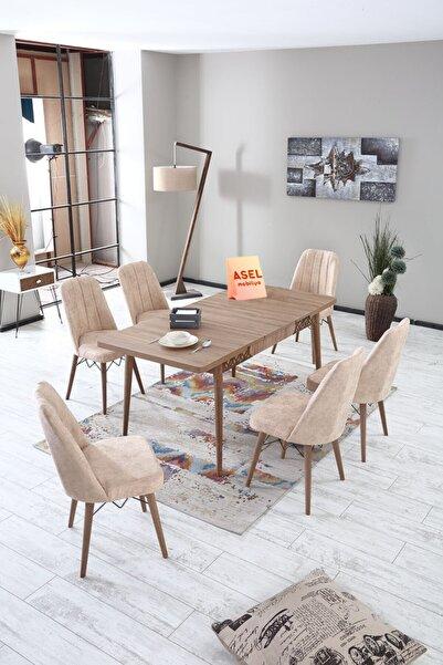 Asel Home Mobilya Sümela Açılır Karegold Yemek Ve Mutfak Masası Takımı 6 Sandalyeli Açık Cappucino