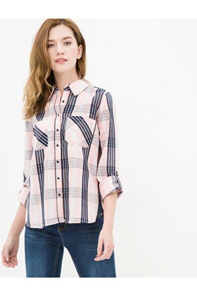 Koton Kadın Pembe Kareli Gömlek