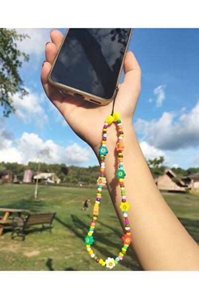 NurCollection Renkli Boncuk Gülen Yüz Telefon Askısı