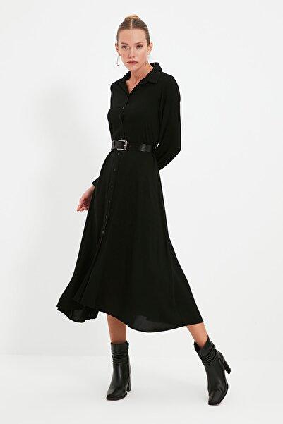 TRENDYOLMİLLA Siyah Kemerli Elbise TWOAW21EL1428