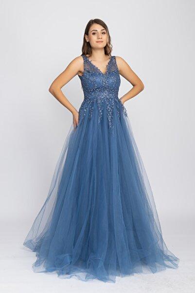 fistan 7134 Kolsuz Long Dress Sim Yaprak Nakışlı Tül Uzun Nişanlık