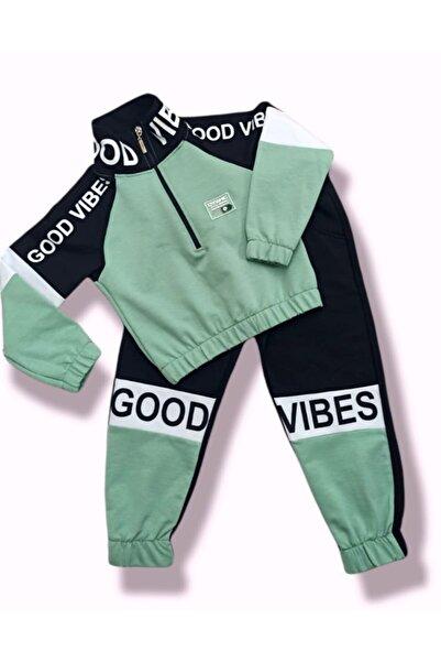 shopshop Şık Model Siyah Su Yeşili Renk Dik Yakalı Kız Çocuk Eşofman Takımı