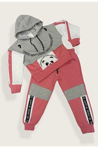 shopshop Şık Model Gri-gül Kurusu Renk Kapüşonlu Kız Çocuk Eşofman Takımı