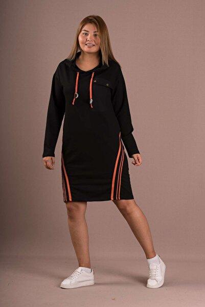 Sogo Büyük Beden 2 Iplik Kalın Kapüşonlu Cep Ve Şerit Detaylı Elbise