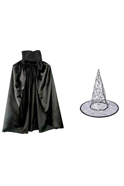 Liyavera Halloween Cadılar Bayramı Şapkalı Çocuk Cadı Pelerini 70 cm
