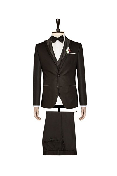 SÜVARİ Yelekli Siyah Slim Fit Damatlık Takım Elbise