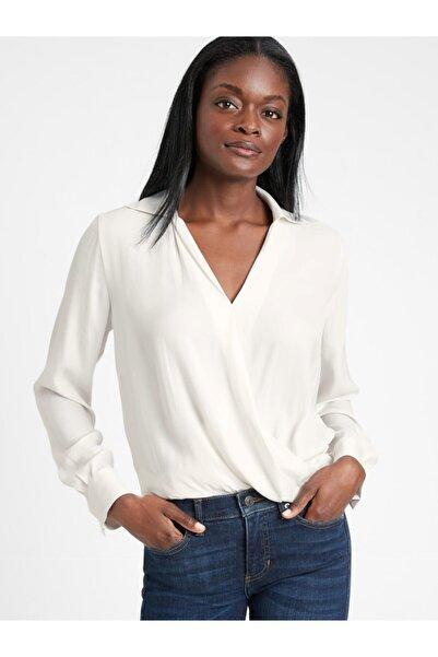 Banana Republic Kadın Beyaz Kruvaze Bluz