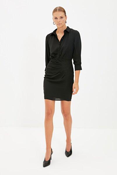 TRENDYOLMİLLA Siyah Gömlek Yaka Elbise TWOAW22EL0218