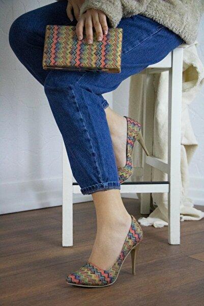 Brc Shoes Kadın Ince Yüksek Topuklu Stiletto Ve Çanta Takımı