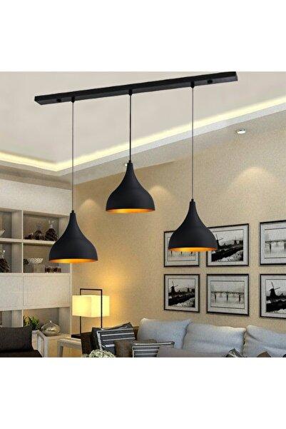 Bamyum Üçlü Uzun Siyah Avize Sarkıt Lamba Salon Masaüstü Mutfak Oturma Odası Otel Avizesi Modelleri
