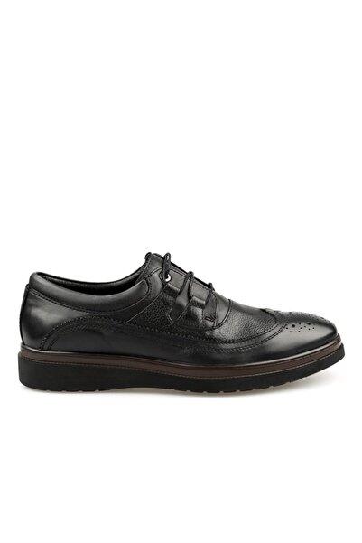 Jakamen Siyah Hakiki Deri Bağcıklı Poli Taban Erkek Casual Ayakkabı