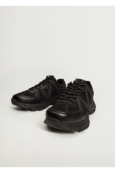 MANGO Man Erkek Siyah Tırtıklı Taban Spor Ayakkabı