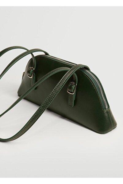 MANGO Woman Kadın Yeşil Iki Saplı Baguette Çanta
