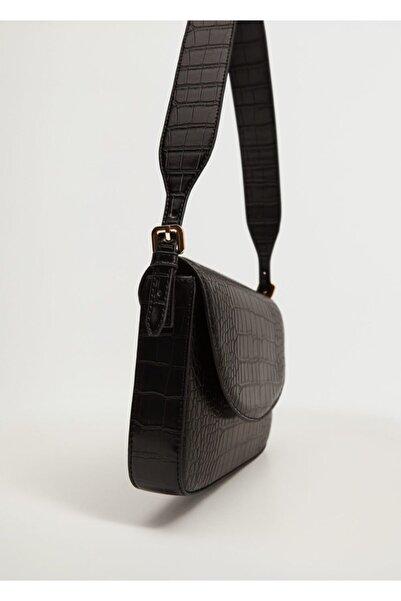 MANGO Woman Kadın Siyah Timsah Derisi Desenli Kapaklı Çanta