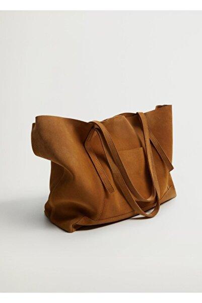 MANGO Woman Kadın Orta Kahverengi Deri Shopper Çanta
