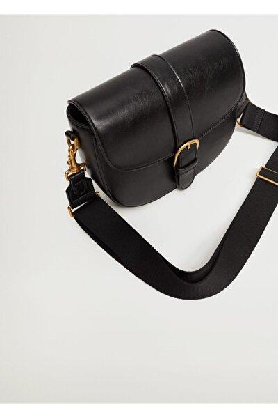 MANGO Woman Kadın Siyah Kapağı Tokalı Çanta
