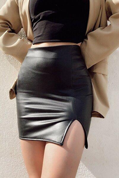 Melsa Official Siyah Mini Yırtmaç Detay Deri Etek