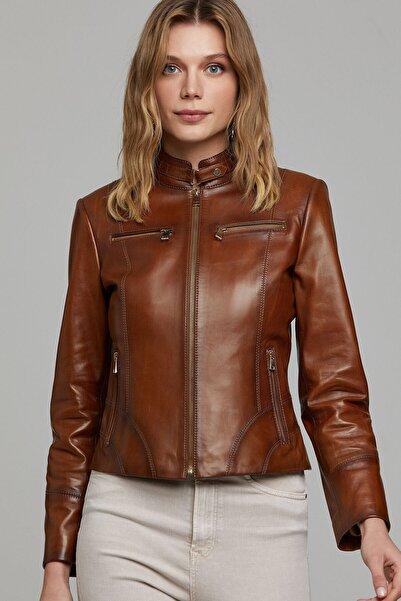Derimod Alicia Kadın Kahverengi Deri Ceket