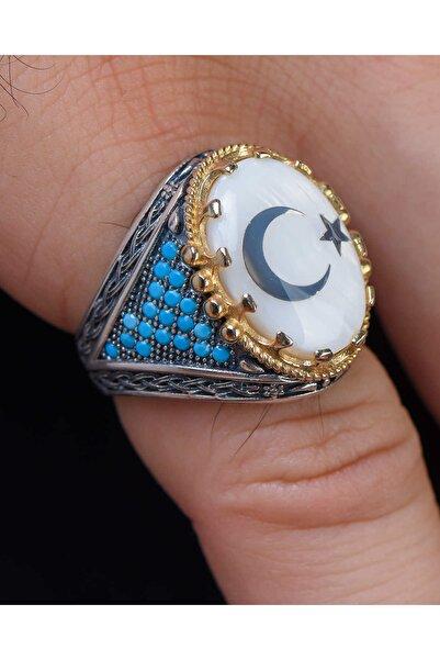 Prestige Gümüş Gümüş Erkek Yüzük Sedef Taşlı Ay Yıldız Simgeli