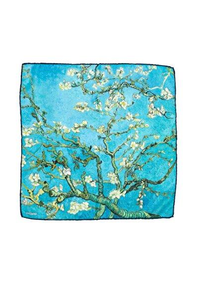 Lila Rosa Van Gogh Desenli Bandana Fular