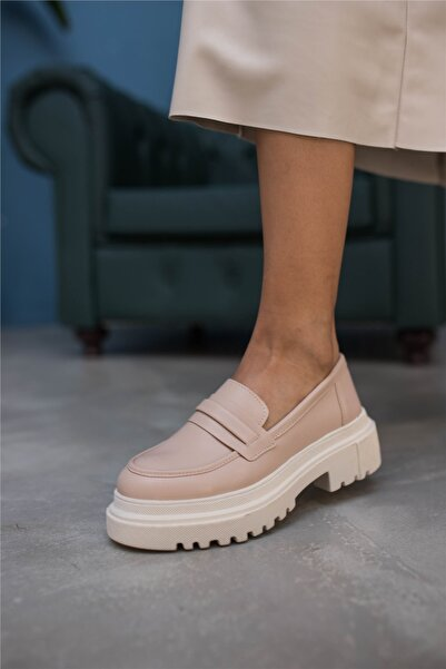 Cömert Ayakkabı Costanz Kadın Loafer Bej Deri