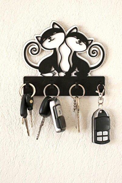 İmpivo Ahşap Kedili Anahtar Askılığı