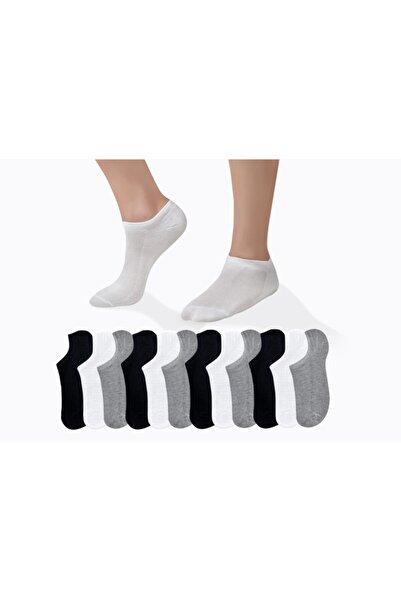 CUBBUX Erkek 12 Çift Detaylı 4 Farklı Renk Kısa Çorap(ANTİBAKTERİYEL)