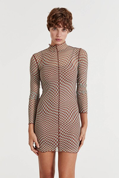 Pull & Bear Uzun Kollu Desenli Tül Elbise