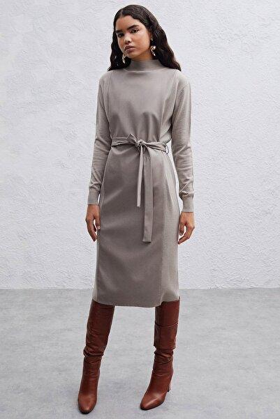 Perspective Melies Normal Kalıp Yün Karışımlı Gri Triko Elbise