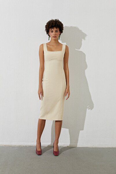 rue. Askılı Midi Elbise