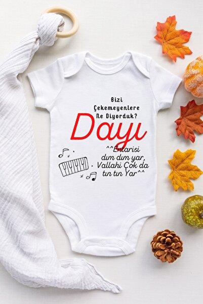 Babydonat Erkek Bebek Bizi Çekemeyenler Dayı Desenli Kısa Kol Body