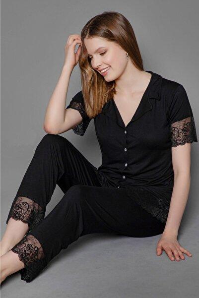 nisnight Kadın Siyah Önden Düğmeli Kısa Kol Dantel Detaylı Pijama Takımı