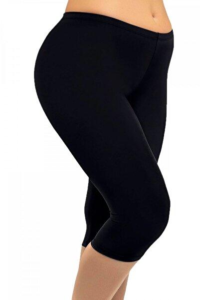 ÇETİNAY Kadın Diz Altı Siyah Tayt Battal 6097