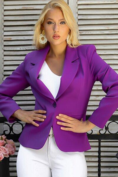 Chiccy Kadın Mor Yakalı Cepli Tek Düğme Astarlı Blazer Ceket M10210100CE98921