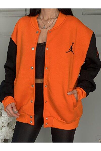 Ekocbutik Kadın Turuncu Renk Nakışlı Kolej Ceketi