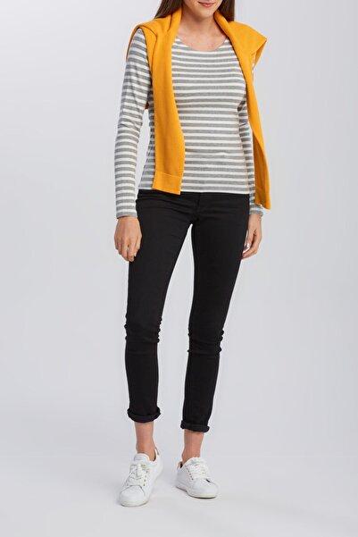 Gant Bayan 1x1 Rib Striped Ls T-shirt Gri