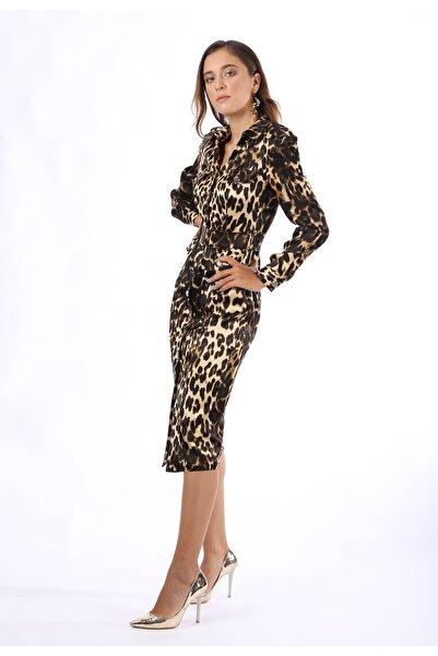 Favori Kadın Leopar Desenli Elbise