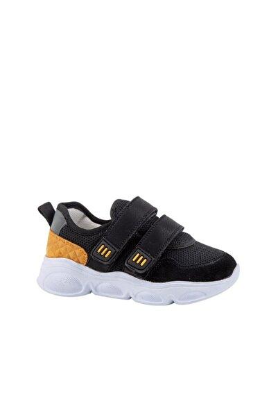 kids A more Simony Çift Cırtlı Air File Detaylı Deri Erkek Çocuk Sneaker Siyah
