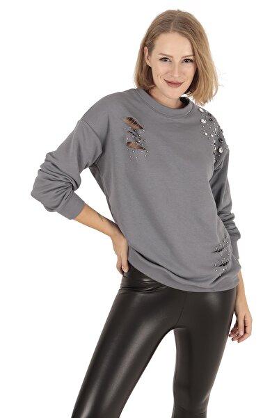 BUKETLİ Kadın Pencere Detaylı Boncuk Işlemeli Gri Sweatshirt