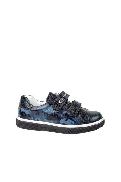 kids A more Wood Çift Cırtlı Kamuflaj Desenli Erkek Çocuk Sneaker Lacivert