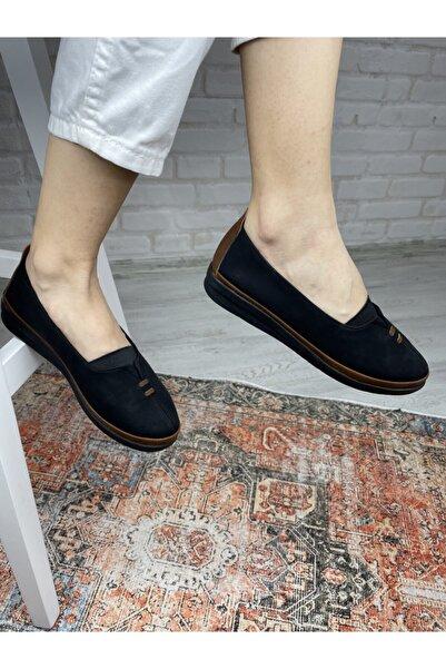 Colorsstep Kadın Ortopedik Içyüzey Hakiki Deri Comfort Ayakkabı Bella Siyah Mat